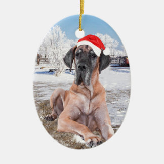 Cute Great Dane Dog Sitting In Snow Christmas Hat Ceramic Oval Ornament