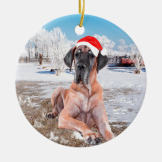 Cute Great Dane Dog Sitting In Snow Christmas Hat Round Ceramic Ornament