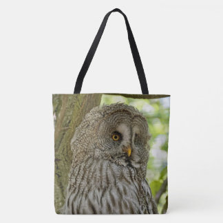 Cute Great Grey Owl Print Tote Bag