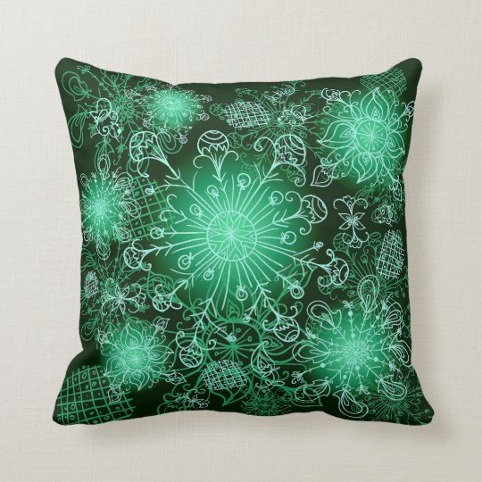 Cute Green Abstract Throw Pillow