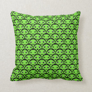 Cute Green Aliens Throw Pillow