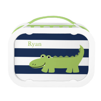 Cute Green Alligator Lunch Box