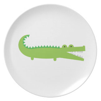 Cute Green Alligator Melamine Plate