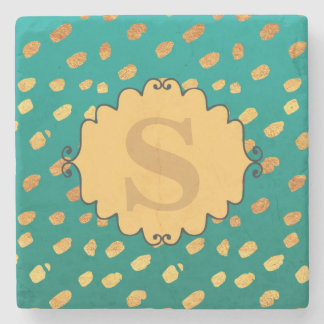 Cute Green and Gold Confetti Monogram Coaster