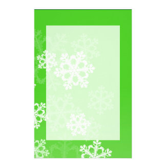 Cute green and white Christmas snowflakes Personalized Stationery