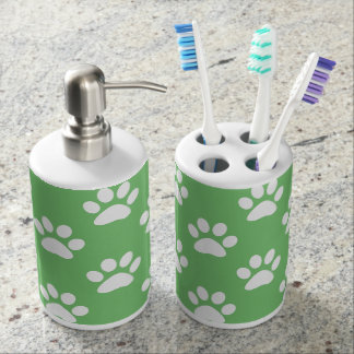 Cute green and white paws pattern soap dispenser and toothbrush holder