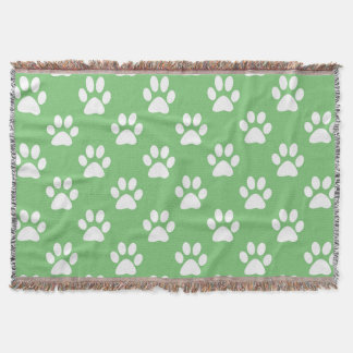 Cute green and white paws pattern throw blanket