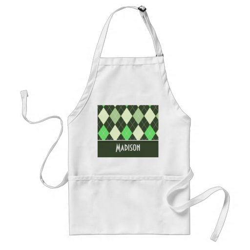 Cute Green Argyle Pattern Aprons