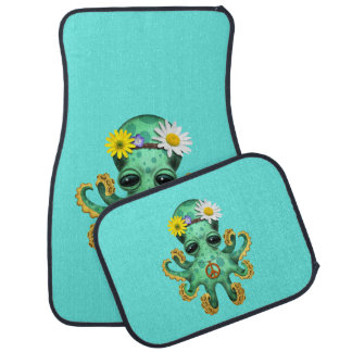 Cute Green Baby Octopus Hippie Car Mat