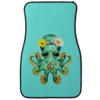 Cute Green Baby Octopus Hippie Car Mat