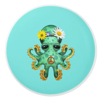Cute Green Baby Octopus Hippie Ceramic Knob