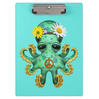 Cute Green Baby Octopus Hippie Clipboard