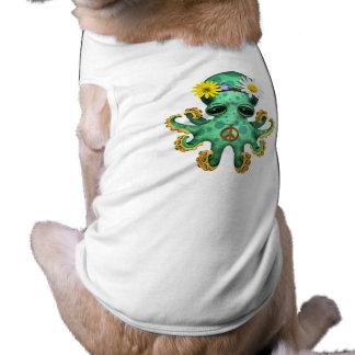 Cute Green Baby Octopus Hippie Dog Shirt