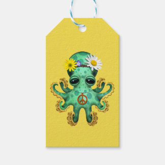 Cute Green Baby Octopus Hippie Gift Tags