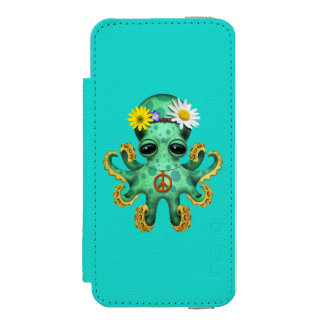 Cute Green Baby Octopus Hippie Incipio Watson™ iPhone 5 Wallet Case