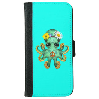 Cute Green Baby Octopus Hippie iPhone 6 Wallet Case