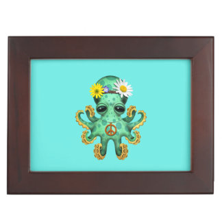 Cute Green Baby Octopus Hippie Keepsake Box