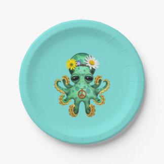 Cute Green Baby Octopus Hippie Paper Plate