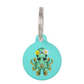 Cute Green Baby Octopus Hippie Pet Tag