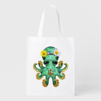 Cute Green Baby Octopus Hippie Reusable Grocery Bag