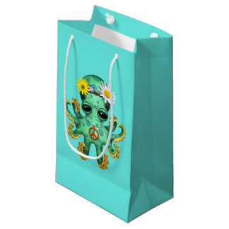 Cute Green Baby Octopus Hippie Small Gift Bag