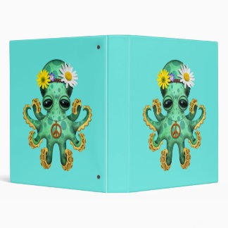 Cute Green Baby Octopus Hippie Vinyl Binder