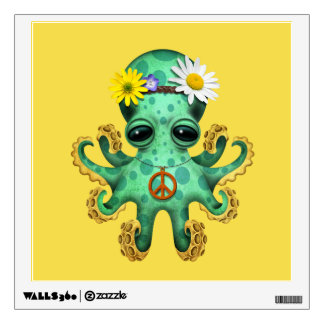 Cute Green Baby Octopus Hippie Wall Decal