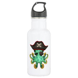 Cute Green Baby Octopus Pirate 532 Ml Water Bottle