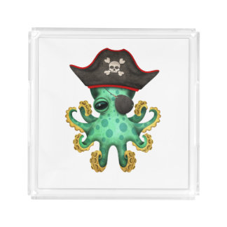 Cute Green Baby Octopus Pirate Acrylic Tray