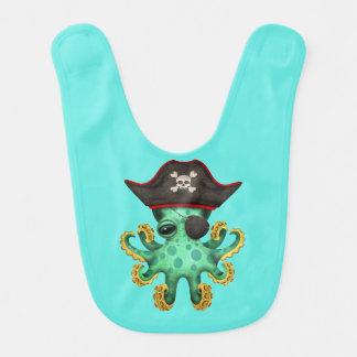 Cute Green Baby Octopus Pirate Bib
