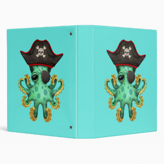 Cute Green Baby Octopus Pirate Binder