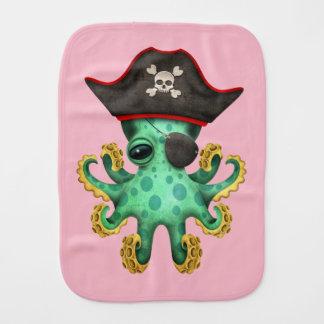 Cute Green Baby Octopus Pirate Burp Cloth