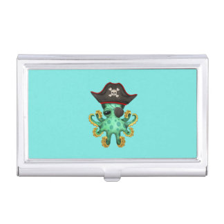 Cute Green Baby Octopus Pirate Business Card Holder