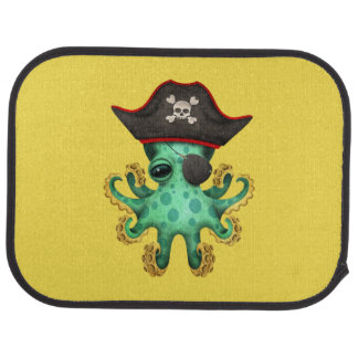 Cute Green Baby Octopus Pirate Car Mat