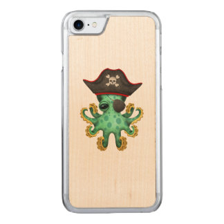 Cute Green Baby Octopus Pirate Carved iPhone 8/7 Case