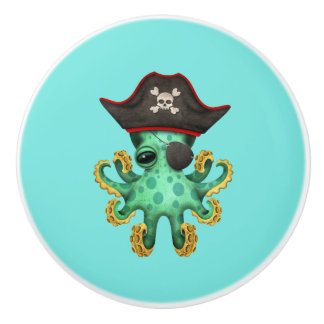 Cute Green Baby Octopus Pirate Ceramic Knob