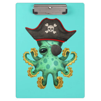 Cute Green Baby Octopus Pirate Clipboard