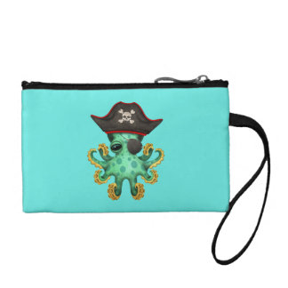 Cute Green Baby Octopus Pirate Coin Purse