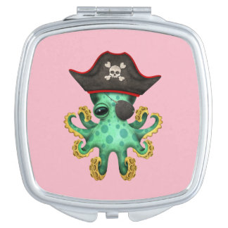 Cute Green Baby Octopus Pirate Compact Mirror
