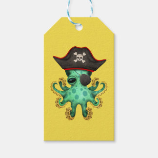 Cute Green Baby Octopus Pirate Gift Tags