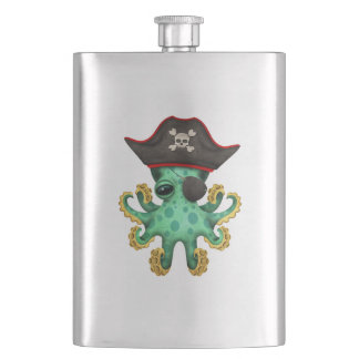 Cute Green Baby Octopus Pirate Hip Flask
