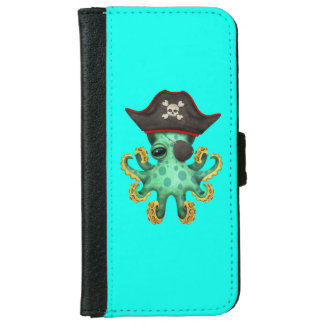 Cute Green Baby Octopus Pirate iPhone 6 Wallet Case