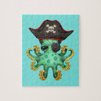 Cute Green Baby Octopus Pirate Jigsaw Puzzle