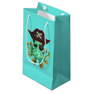 Cute Green Baby Octopus Pirate Small Gift Bag