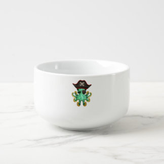 Cute Green Baby Octopus Pirate Soup Mug