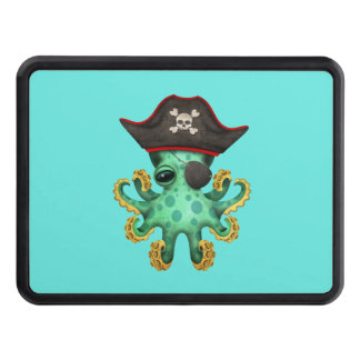 Cute Green Baby Octopus Pirate Trailer Hitch Cover