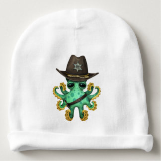 Cute Green Baby Octopus Sheriff Baby Beanie