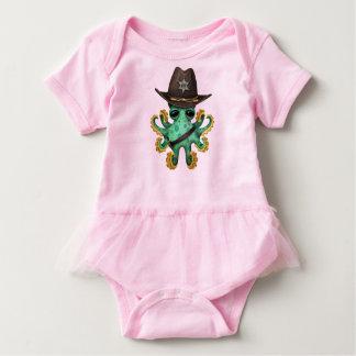 Cute Green Baby Octopus Sheriff Baby Bodysuit