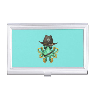 Cute Green Baby Octopus Sheriff Business Card Holder