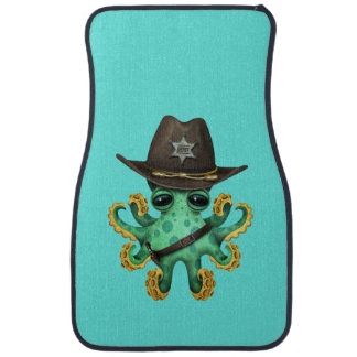Cute Green Baby Octopus Sheriff Car Mat